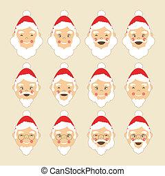 Santa Faces Set - Collection of Santa heads