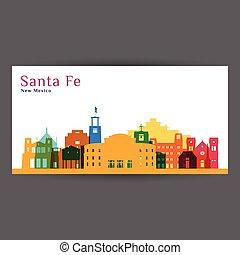 Santa Fe city architecture silhouette. Colorful skyline. City flat design. Vector business card.