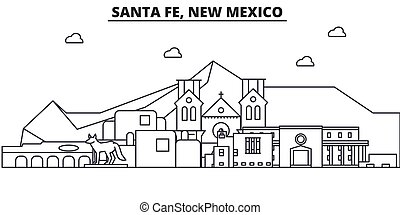 Santa Fe, New Mexico architecture line skyline illustration. Linear vector cityscape with famous landmarks, city sights, design icons. Editable strokes