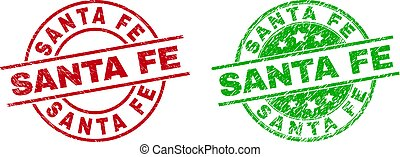 Round SANTA FE stamps. Flat vector distress seal stamps with SANTA FE message inside circle and lines, using red and green colors. Watermarks with distress style.