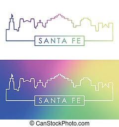 Santa Fe skyline. Colorful linear style.