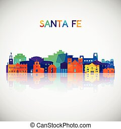 Santa Fe skyline silhouette in colorful geometric style. Symbol for your design. Vector illustration.