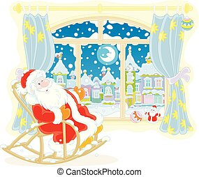 santa, fenêtre, fauteuil bascule, claus