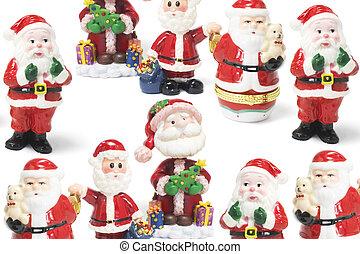 Santa Figures on Seamless Background