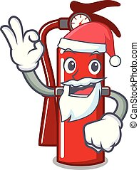 Santa fire extinguisher mascot cartoon