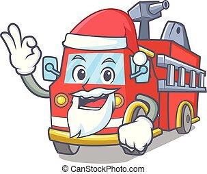 Santa fire truck mascot cartoon