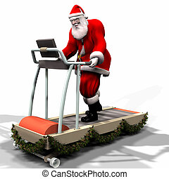 Santa Fitness - Santa Working Out on a Treadmill. Getting...