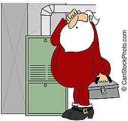 Santa fixing a furnace - This illustration depicts Santa...