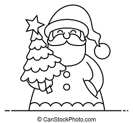 Santa Flat Design Line Art