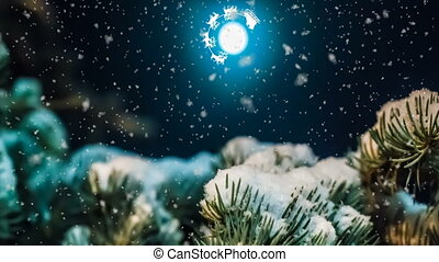 Santa flies in the night sky against the background of the full moon, new year conceptual animation, beautiful night winter landscape with falling snow