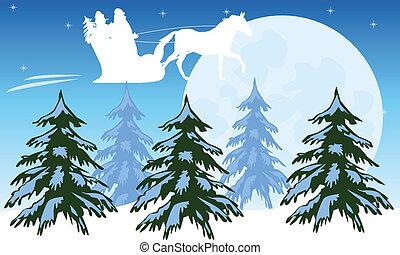 Santa flies on sky