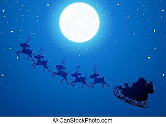 Santa flies through the night sky