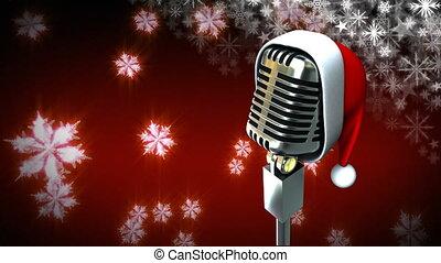 santa, flocons neige, microphone, chapeau