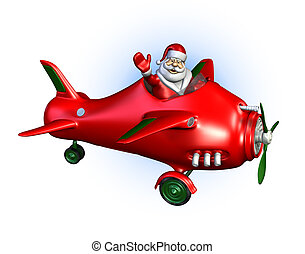Santa Flying a Plane - 3D render of Santa Claus flying a ...