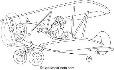 Santa flying a plane - Black and white vector illustration ...