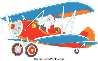 Santa flying a plane - Vector illustration of Santa Claus ...