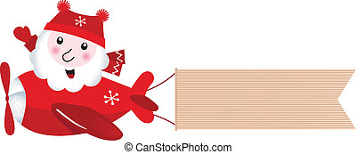 Santa flying in christmas airplane with blank banner, retro