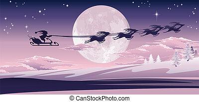 Santa flying in his sled