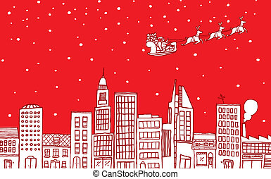 Santa flying over the city