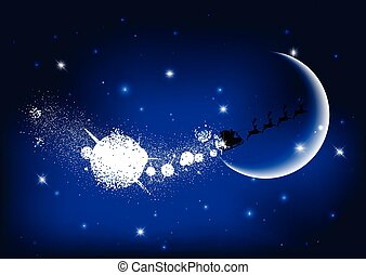 santa flying through the night sky 1311