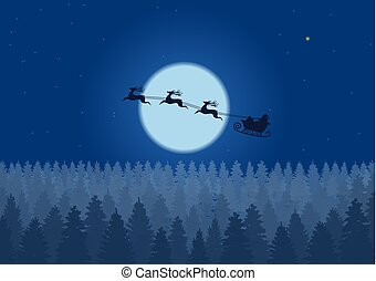 Santa flying through the night sky under the christmas forest. Santa sleigh driving over woods near big moon in night.