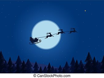 Santa flying through the night sky under the christmas forest. sleigh driving over line drawing woods near big moon in .