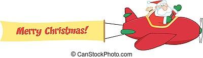 Santa Flying With Christmas Plane