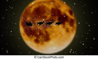 Santa flying with fireworks over full fiery moon Santa Claus merry chrisrmas animation Silhouette