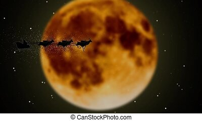 Santa flying with fireworks over full fiery moon Santa Claus. Silhouette