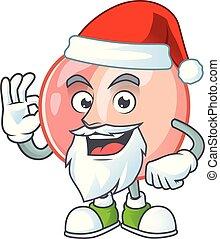 Santa fruit peach fresh character with mascot