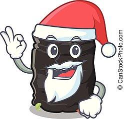 Santa garbage bag behind the character door