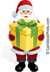 Santa Claus, bringing you a gift. No transparency used. Basic (linear) gradients used.