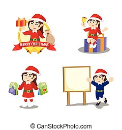 santa girl cartoon set