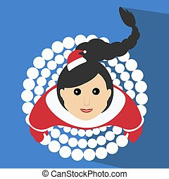 Santa girl Christmas New Year vector illustration of a skirt in the form  snowballs snow top view