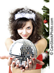Santa girl disco ball in the hands