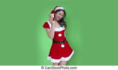 Santa girl green screen