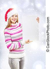 Santa girl holding blank sign