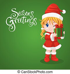 Santa girl holding gift box