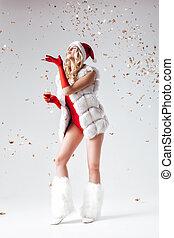 Santa girl in a white fur coat - Santa girl in white fur...