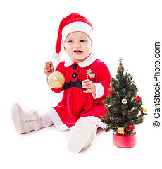 Santa girl isolated