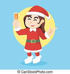 santa girl on new year party