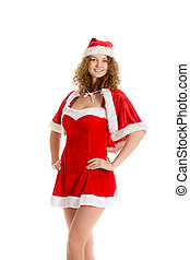 Santa girl poses in Christmas dress
