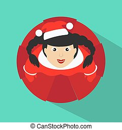 Santa girl. Vector Illustration. top view on a green background