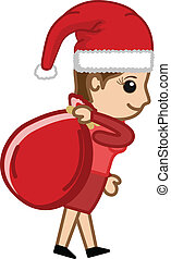 Santa Girl with Gift Bag