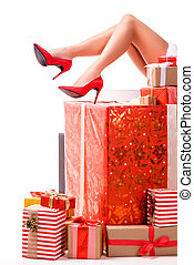 santa girl with gift boxes