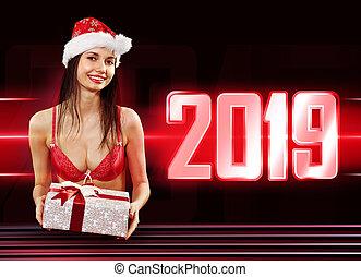 Santa girl with present in 2019