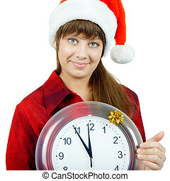 Santa girl with the clock