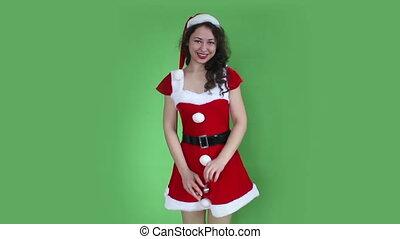 Santa girl with xmas decoration