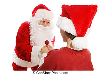 Santa Gives Lollipop to Boy