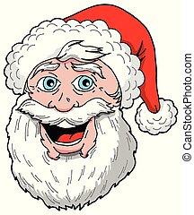 Santa giving a big smile - A color cartoon illustration of ...